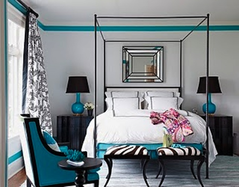 Turquoise 0310 Coleman 19 De Turquoise Blavk And White Bedroom Interior Design Decor Via House Beautiful