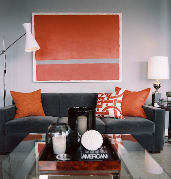 Color schemes orange and grey eclectic living home - Grey and orange living room ...