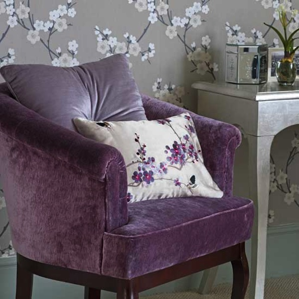 Eclectic living home a blog about furniture interior for Purple and silver bedroom designs