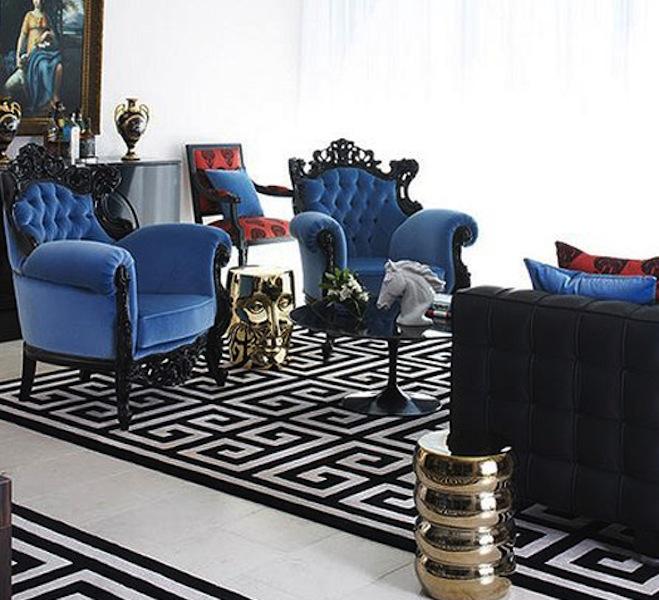 Blue Black White Living Room