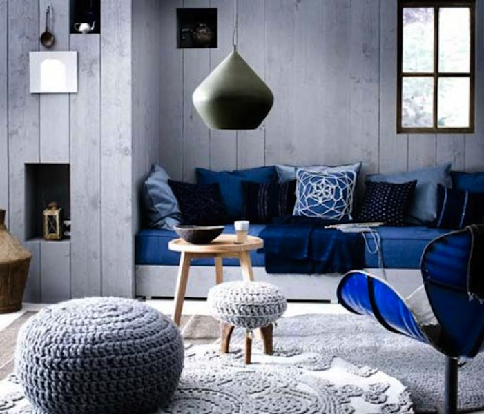 Color scheme black and blue eclectic living home - Blue living room color schemes ...