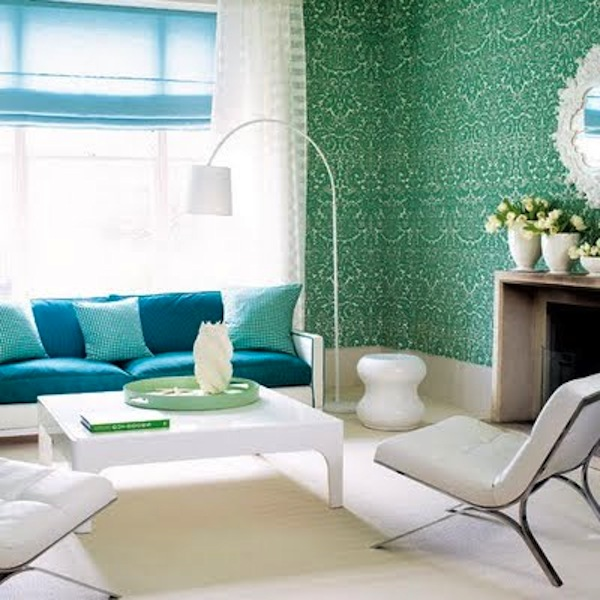 Color schemes aqua and green eclectic living home for Turquoise color scheme living room
