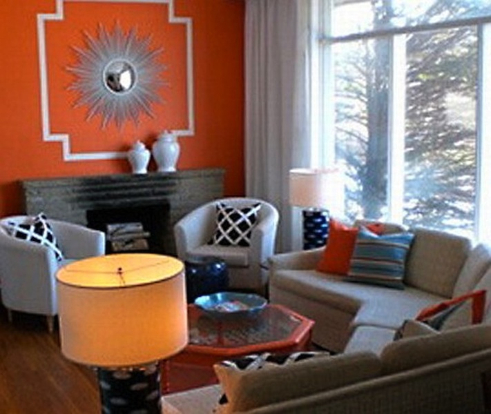 grey and orange living room