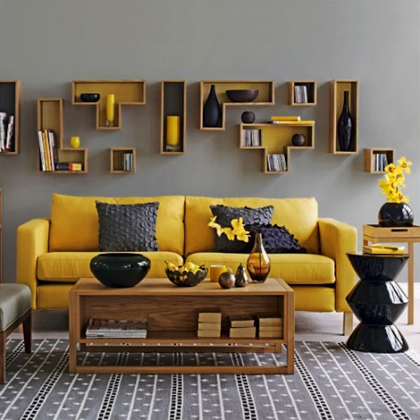 Color schemes yellow and gray eclectic living home for Home decor yellow