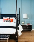 Kenneth Brown pale blue and orange bedroom