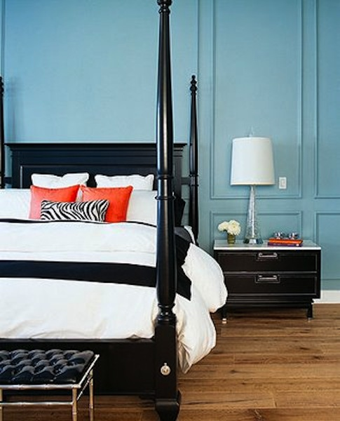 Kenneth Brown pale blue and orange bedroom | ECLECTIC LIVING ...