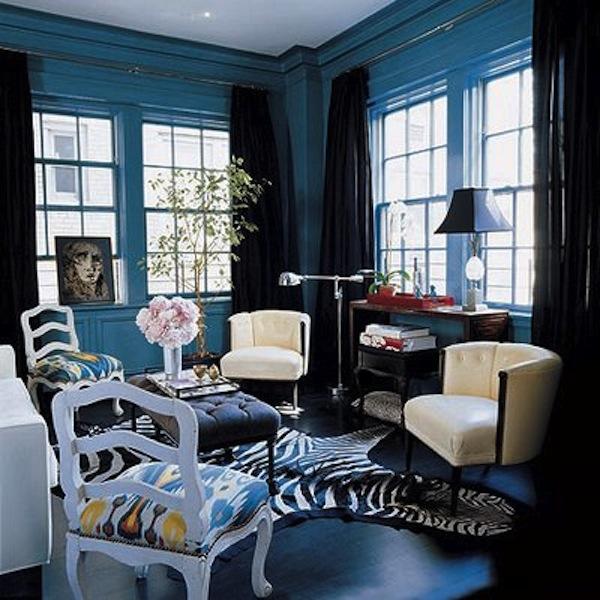 Color scheme black and blue eclectic living home - Dark blue room color scheme ...