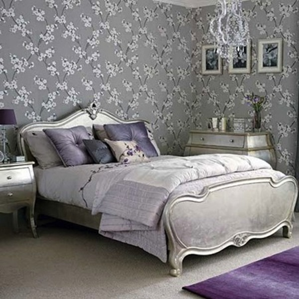 purple lavender bed room silver leaf bed gray linens home decor ideas1