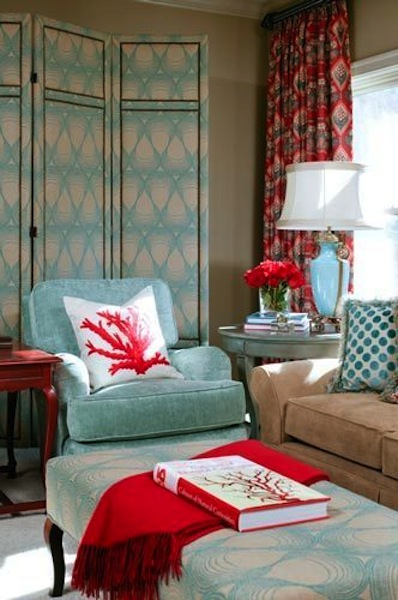 Red and turquoise living room via twolia eclectic living for Turquoise color scheme living room