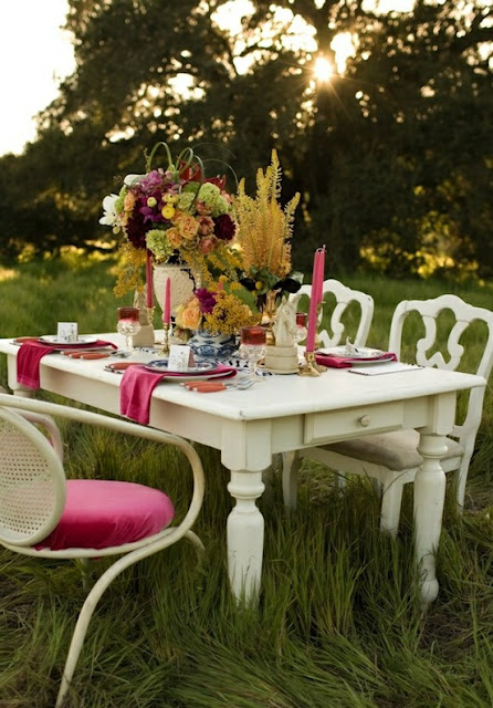 Romantic outdoor dining table and parties