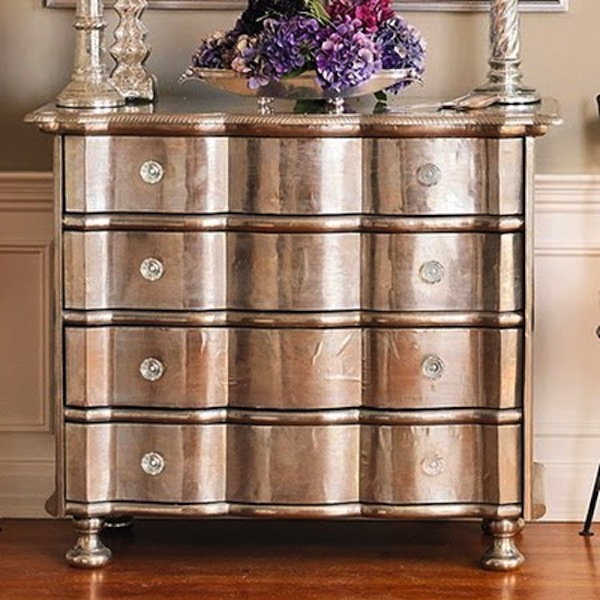 silver leaf dresser chest of drawers purple accents home room decor