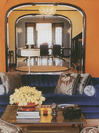 Color scheme blue and orange eclectic living home - Blue and orange color scheme for living room ...