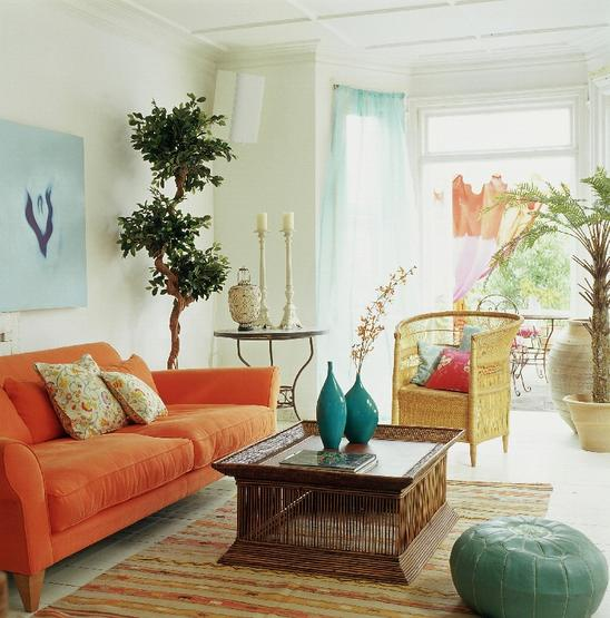 Turquise and orange home decor native home garden design for Turquoise color scheme living room
