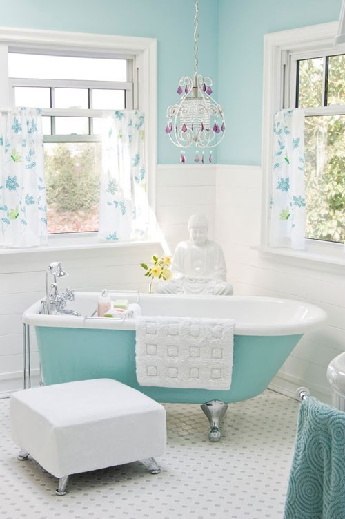 Light aqua blue white bathroom eclectic living home for Aqua blue bathroom accessories