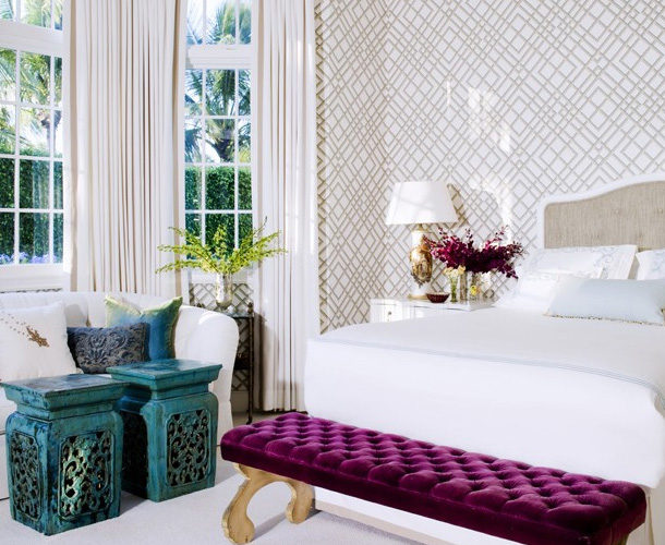 Modern chic white beige purple turquoise bedroom for Modern decorating colors