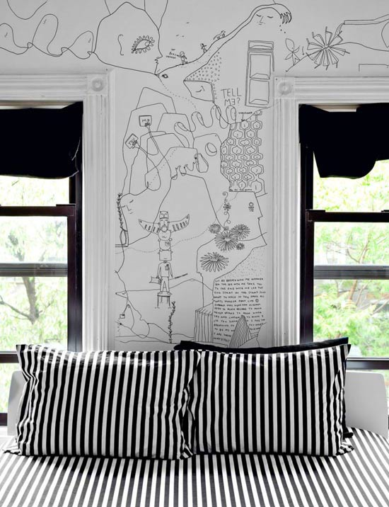 Art design the drawings on the wall eclectic living home for Drawing mural on wall