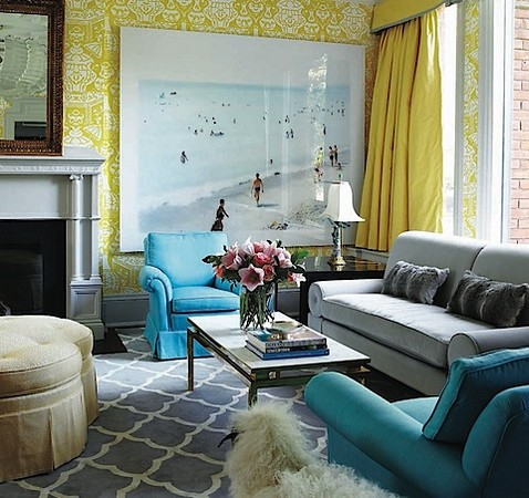 Color Scheme Turquoise And Grey Eclectic Living Home