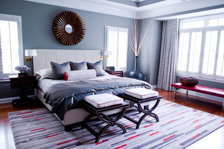 color scheme red and grey eclectic living home