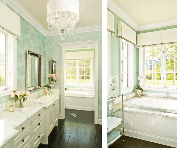 Mint green white bathroom classic traditional eclectic for Green and gray bathroom designs