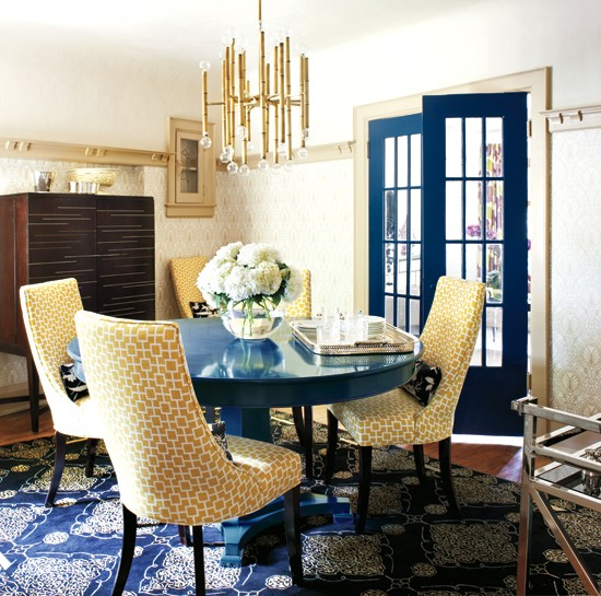 Color scheme yellow and navy blue eclectic living home for Navy dining room ideas