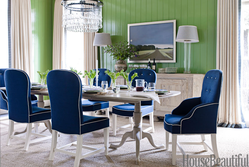 Color scheme emerald green and sapphire blue eclectic for Navy blue dining room ideas
