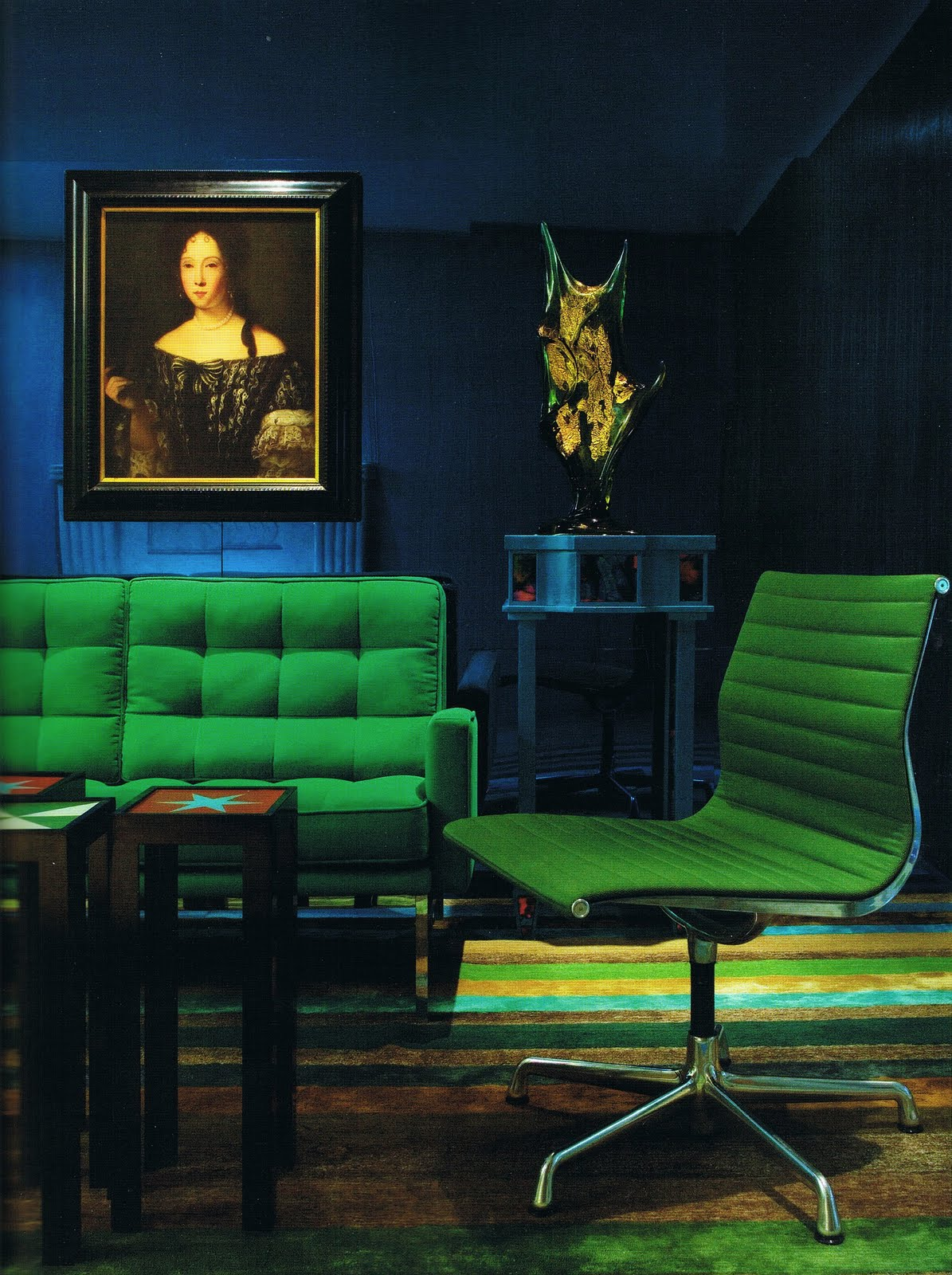 Color scheme emerald green and sapphire blue eclectic for The blue room