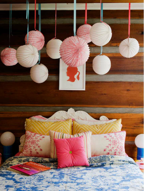 traditional white bed and fluffy pillows in cool teen bedrooms | Color Scheme: Hot Pink and Cool Blue | ECLECTIC LIVING HOME