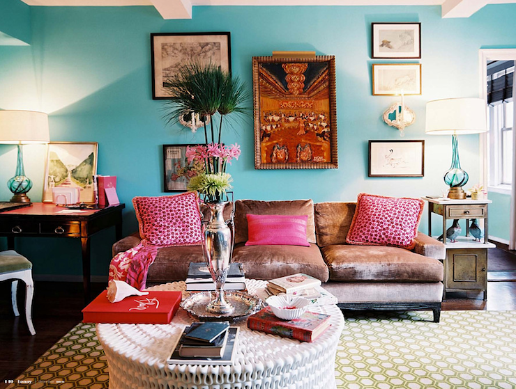 Color Scheme Hot Pink And Cool Blue Eclectic Living Home