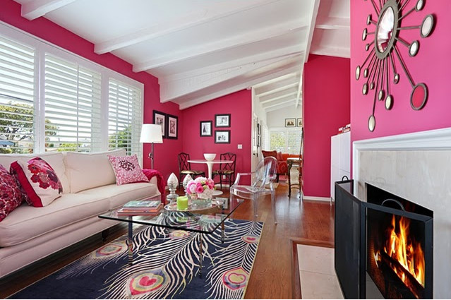 Color scheme hot pink and cool blue eclectic living home for Living room ideas pink and grey
