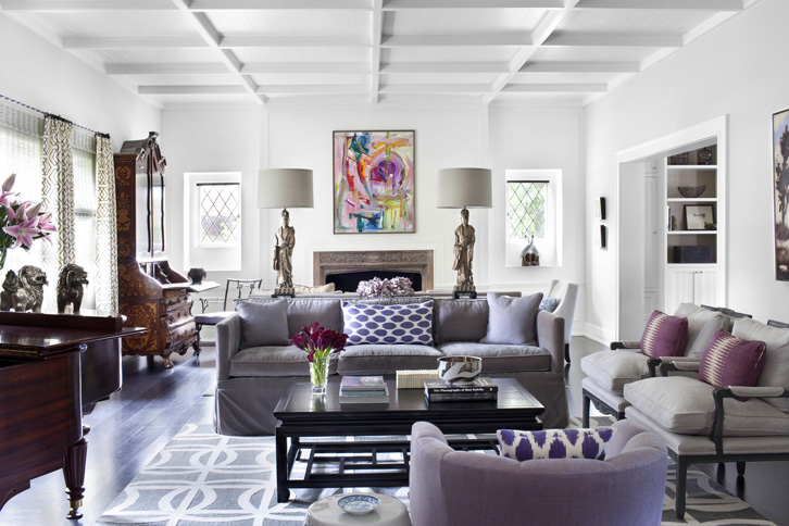 Color scheme purple and grey eclectic living home Grey and purple living room