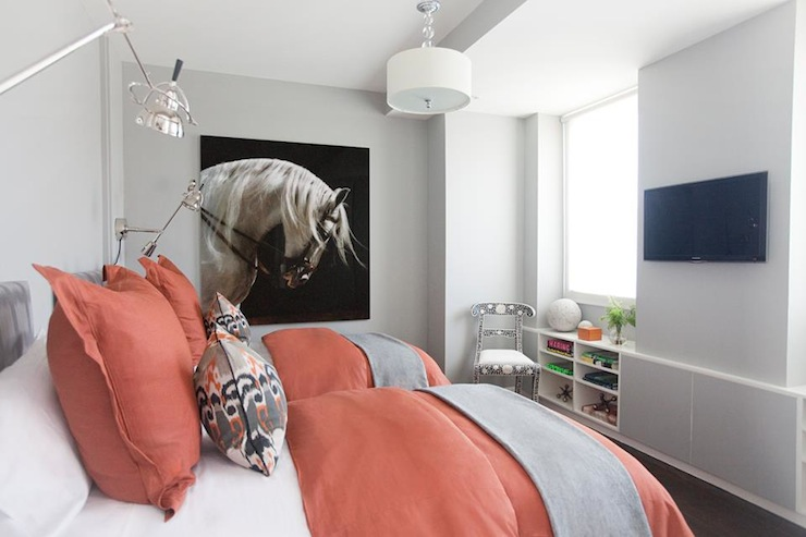 color scheme coral and grey eclectic living home