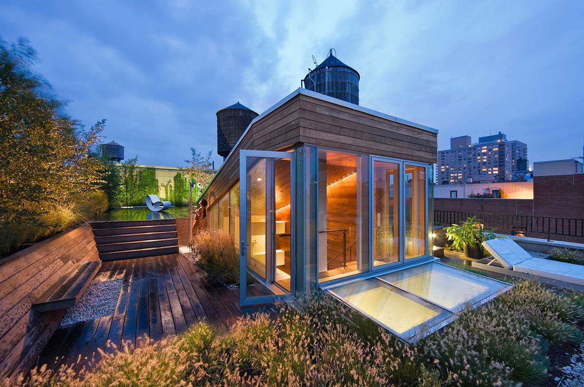 Modern in manhattan eclectic living home Home plans with rooftop deck
